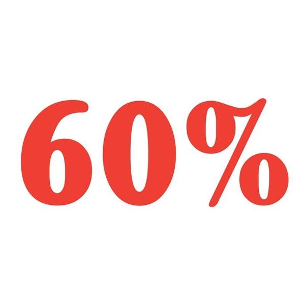 """ΑΥΤΟΚΟΛΛΗΤΟ ΣΗΜΑ """"60%"""""""